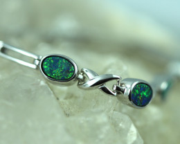 Opal Fire Doublet set in Silver 925 Bracelet  Code CCC2718