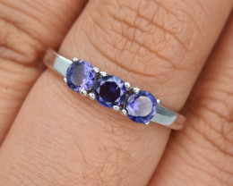 Natural Iolite and 925 Silver Ring