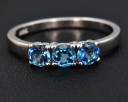 Natural London Blue Topaz  and 925 Silver Ring