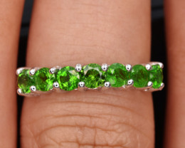 Natural Green Chrome Diopside  and 925 Silver Ring