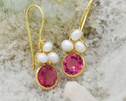 RUBY EARRINGS 925 STERLING SILVER NATURAL GEMSTONE JE891