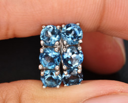 Natural London  Blue Topaz  and 925 Silver Earrings