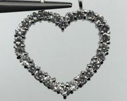 ~No Reserve~ Natural Zircon Heart Shape Silver 925 Sterling Pendant