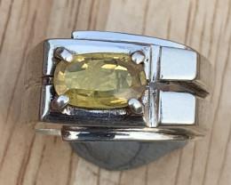 Natural Yellow Sapphire Men Ring.