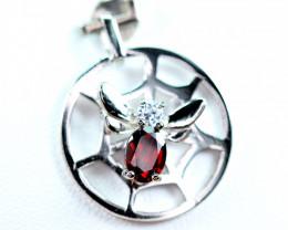 Natural Red Garnet ,CZ Nice Design 925 Silver Pendant