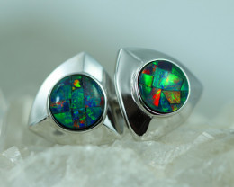 Fire Opal Cuff Links set in Silver 925 Code CCC2731