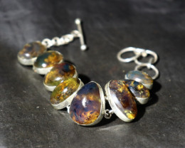 """Dominican Natural Clear Ocean Blue Amber .925 Sterling Silver Bracelet 6"""" +"""