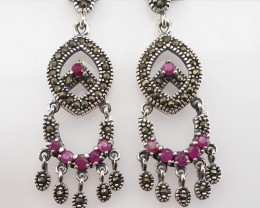 Antique Glass filled Ruby Earrings