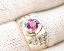 Unique Design 47.70 Ct Silver Ring ~ With  Ruby Stone