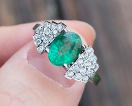 Emerald Ring 14K White Gold Diamond Engagement Ring N02R
