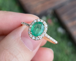 Emerald Ring 10K Yellow Gold Diamond Engagement Ring N01R