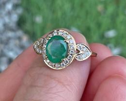 Emerald Ring 10K Yellow Gold Diamond Engagement Ring J89R