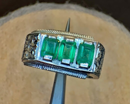 Natural Afghanistan panjsher Emerald and diamond Gents Ring.