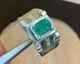 Natural Emerald and Diamond Ring.