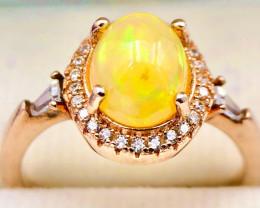 Pretty Natural Fire Opal, CZ Silver 925 Ring