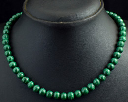 Genuine 251.00 Cts Malachite  Beads Necklace