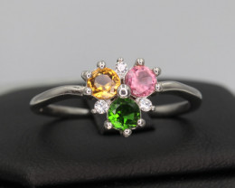 Natural Tourmaline, CZ & 925 Sterling  Silver Ring