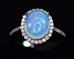 Natural Multi Fire Opal Cabochon,CZ 925 Silver Very Top Ring