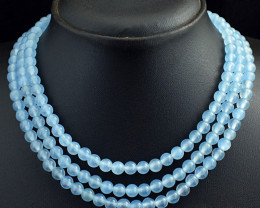 Genuine 399.00 Cts 3 Line Chalcedony  Beads Necklace