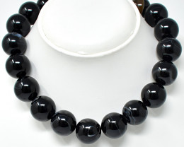Genuine 1290.00 Cts Onyx Round Beads Necklace