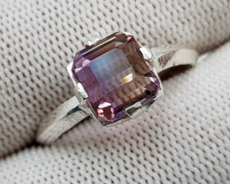 Natural Bio Color Ametrine 14.40 Carats 925 Hand Made Silver Ring