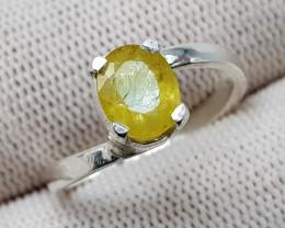 Natural Yellow Sapphire 12.20 Carats 925 Hand Made Silver Ring