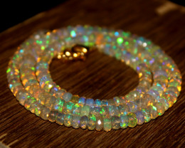 47 Crt Natural Ethiopian Welo Faceted Opal Necklace 250