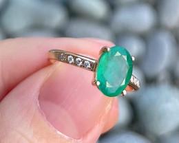 Emerald Ring 18K White Gold Diamond Engagement Ring N07R