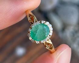 Emerald Ring 10K White Gold Diamond Engagement Ring TP58R