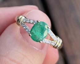 Emerald Ring 10K White Gold Diamond Engagement Ring J94R