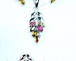 Natural Mix Stones 925 Silver Full Set Pendant ,Earrings and Ring