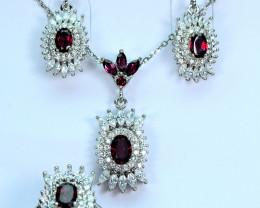 Natural Rhodolite Garnet  ,CZ 925 Silver Full Set full Chain Pendant ,Earri