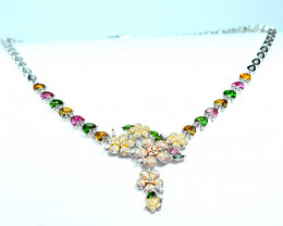 Natural Multi Mix Stones ,CZ 925  Silver Nice Necklace