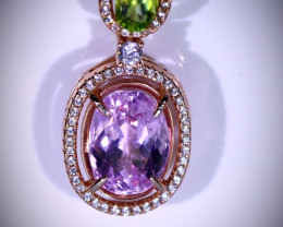 Pink Kunzite 7.22ct Peridot Rose Gold Finish Solid 925 Sterling Silver Pend
