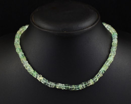 Genuine 173.00 Cts Green Fluorite  Beads Necklace