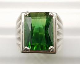 Natural Green Tourmaline 64.90 Carats 925 Hand Made Silver Ring