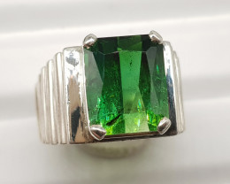 Natural Green Tourmaline 62.70 Carats 925 Hand Made Silver Ring