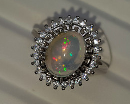 Natural Fire Opal 21.20 Carats 925 Silver Ring