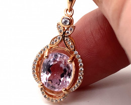 Pink Kunzite 5.65ct Rose Gold Finish Solid 925 Sterling Silver Pendant