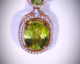 Yellow Kunzite 5.74ct Peridot Rose Gold Finish Solid 925 Sterling Silver Pe