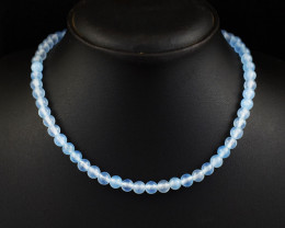 Genuine 140.00 Cts Chalcedony  Beads Necklace