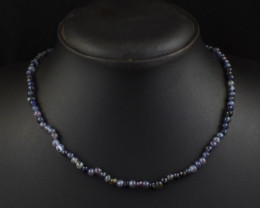 Genuine 64.00 Cts Iolite  Beads Necklace