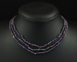 Genuine 113.00 Cts  3 Line Amethyst  Beads Necklace
