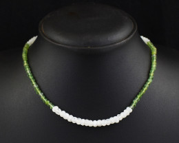 Genuine 75.00 Cts Faceted Moonstone  & Peridot  Beads Necklace