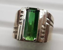 Natural Green Tourmaline 63.00 Carats 925 Hand Made Silver Ring