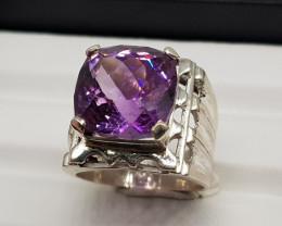 Natural Purple Amethyst 73.10 Carats 925 Hand Made Silver Ring