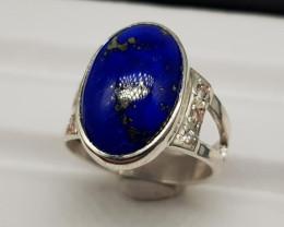 Natural Blue Lapis Lazuli 33.90 Carats Hand Made Silver Ring