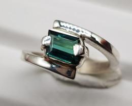 Natural Indicolite Tourmaline 16.80 Carats 925 Hand Made Silver Ring