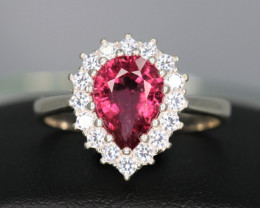 Natural Pink Tourmaline, CZ & 925 Fancy Sterling  Silver Ring