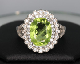 Natural Peridot, CZ & 925 Fancy Sterling  Silver Ring